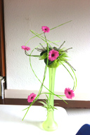 Space- floral design with 5 gerberas